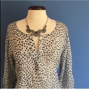 Ann Taylor Spotted Sheer Blouse